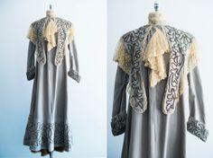 Victorian/Edwardian Powder Blue Velvet Walking Jacket with Embroidery