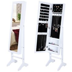 white jewelry armoire with mirror