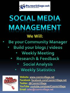 Social Media Management - For Businesses whom don't have the Time, Knowledge or Resources but are wanting to jump right into Social Media, why not let us manage your Social Media (This includes a Consultation + Setup). Working closely with your business, we will provide your customers with a professional community manager to suit your needs! Packages start from $15 per day! See more: http://bit.ly/AvxHnE