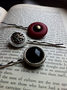 Upcycled DIY bobby pins made out of vintage buttons