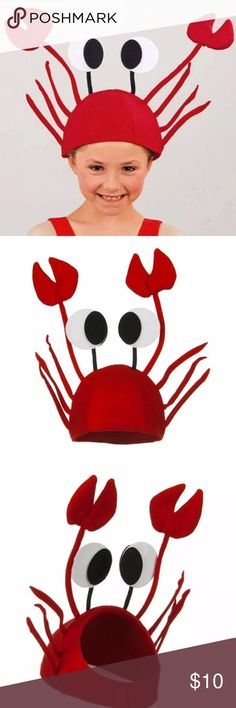 Crab  Hat New in package. Cute and fun hat! Great for a costume party or sea creature themed party. Hat Circumference: 50-62cm (Ajustable Closure)   ❌ No Trades Accessories Hats