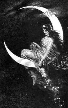 Art nouveau moon Illustration