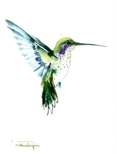 Flying Hummingbird olive green watercolor art, 12 X 9 in