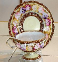 Amazing All Hand Painted Nippon Royal Kinran Pedestal Cup & Saucer