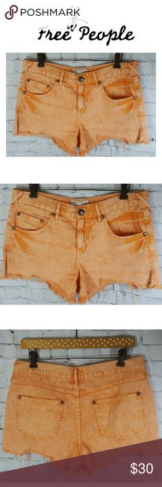 """Free People Cutoff Shorts Distressed Denim Size 28 Free People  Women's Shorts 100% Cotton Distressed Orange Denim Frayed Women's Size 28  It's tagged a size """"28"""" please see approximate measurements below: Waist: 17"""" Hips: 19.75""""  Made of: 100% Cotton Machine Washable Free People Shorts"""