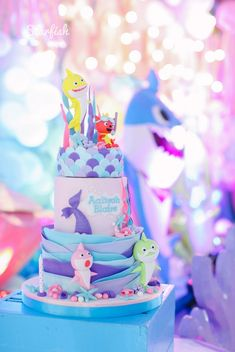 Baby shark birthday party girl 2 year old top ideas 2 Year Old Birthday Party Girl, Baby Girl Birthday Theme, Girls Birthday Party Themes, Birthday Wishes, 2nd Birthday, Birthday Ideas, Shark Birthday Cakes, Baby Shark, First Birthdays
