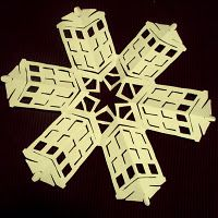 #DoctorWho TARDIS Paper Snowflake  @Kelsey Myers Weber are these better? :) Christmas Crafts, Christmas Holidays, Christmas Decorations, Christmas Activites, Christmas Ideas, Paper Snowflakes, Snowflake Garland, Kirigami, Tardis Blue