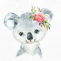 Little red panda panda koala. Watercolor animals clipart portrait flowers cute child nursery art nature realistic friends baby shower Informations About Kleiner Koala-roter Panda-Panda. Baby Animal Drawings, Cute Drawings, Watercolor Animals, Watercolor Paintings, Baby Animals, Cute Animals, Art Et Nature, Baby Koala, Clip Art