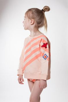 Kid + Kind Uniform stripe sweatshirt with iron-on patches + matching bloomers.  www.lublue.co.uk