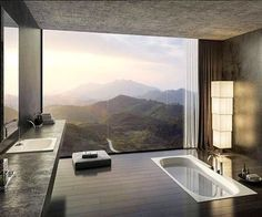 LUXURY BATHROOM IDEAS   Stunning Bathroom with amazing view   bocadolobo.com/ #luxurybathroom #luxurybathroomideas