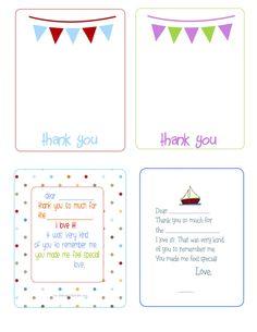 Printable Birthday Thank You cards -