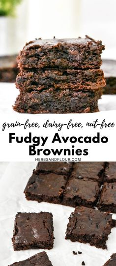 It's hard to believe something this chocolatey and fudgy could actually be pretty healthy but these Fudgy Avocado Brownies are just that! Grain-free, dairy-free, nut-free and low carb too! Healthy Sweet Snacks, Healthy Baking, Healthy Desserts, Avocado Brownies, Healthy Brownies, Delicious Recipes, Baking Recipes, Whole Food Recipes, Keto Chocolate Chips