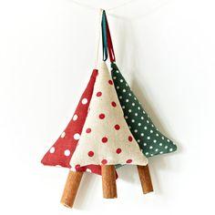 cinnamon stick christmas ornaments   Christmas Cinnamon Tree Ornaments Rustic Polka Dot Christmas ...