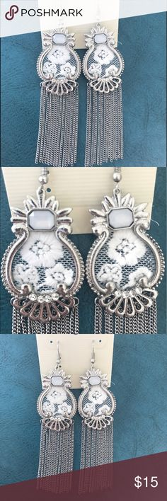 NWT Silver Tone Lace Chandelier Hanging Earrings Brand new earrings perfect for summer! Very unique!   No Trades    Fast Shipping   Bundle & Save  Smoke Free Home Pet Free Home Jewelry Earrings