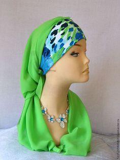 Летний трансформер зеленый салатовый - чалма,тюрбан,летняя мода,стильный аксессуар