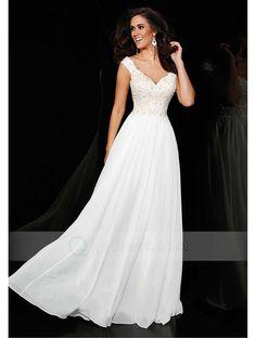 Buy A-line V-neck Sweep Train Chiffon Prom Dress with Appliqued Beaded - QQdress.com