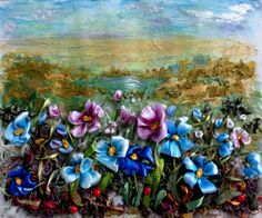 picture Wildflowers 2 .Silk ribbon by SilkRibbonembroidery on Etsy, €90.00 $126.32