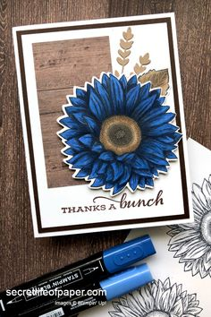 Thank you card created with Stampin' Up! Celebrate Sunflowers Bundle, colored with Night of Navy Stampin' Blend Markers. Also used In Good Taste DSP. Card Making Inspiration, Making Ideas, New Home Cards, Sunflower Cards, Cardmaking And Papercraft, Stampin Up Catalog, Fun Fold Cards, Thanksgiving Cards, Sympathy Cards
