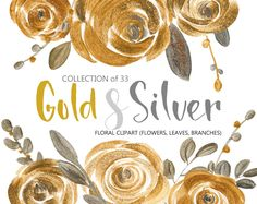 Flower clipart: gold & silver acrylic roses, metallic glitter leaves branches flower florals, free commercial use clip art bright flowers Flower Branch, Flower Frame, Gold Watercolor, Watercolor Flowers, Watercolor Paintings, Bright Flowers, Silver Flowers, Flower Clipart, Illustrations