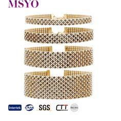 MSYO brand fashion simple cord diamante men's gold choker necklace set