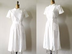 vintage 1940s WWII NURSE uniform cotton dress