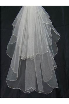 Véus de Noiva Véus cotovelo Duas camadas Borda guarnição pérola Tule