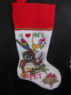 I Love My Pet Vintage Christmas Stocking #Unbranded