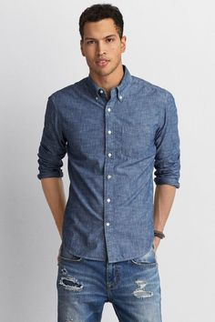 1d6469c60cf American Eagle Outfitters AEO Chambray Button Down Shirt
