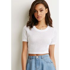 Forever 21 Women's  Cropped Open-Knit Sweater (110 VEF) ❤ liked on Polyvore featuring tops, sweaters, open stitch sweater, open-knit sweater, white open knit sweater, white short sleeve sweater et acrylic sweater