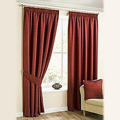 Joshua Thomas - Red 'Marrakech' Pencil Pleat Curtains