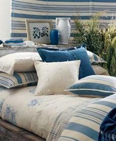 Ralph Lauren Catalina Island Blue Stripe Queen Duvet Cover