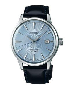 """Montre homme Seiko PRESAGE """"Cocktail"""" Automatique 3 aiguilles/date avec un boîtier en acier inoxydable, monté sur un bracelet cuir noir surpiqué bleu."""