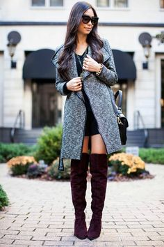 A grey tweed coat and a black shift dress are a perfect combination to be utilised at the weekend. Go for a pair of burgundy suede over the knee boots to instantly up the chic factor of any outfit.  Shop this look for $416:  http://lookastic.com/women/looks/coat-crossbody-bag-over-the-knee-boots-sunglasses-shift-dress/4643  — Grey Tweed Coat  — Black Leather Crossbody Bag  — Burgundy Suede Over The Knee Boots  — Black Sunglasses  — Black Shift Dress