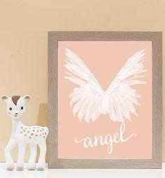 Angel Wings on Peach. Kids wall art and wall prints.  Shop Love JK for nursery decor and nursery ideas.
