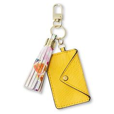 Women's Card Holder and Tassel Key Chain Yellow/Floral - Sam & Libby : Target