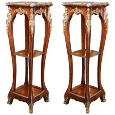 Pair of Tall French Marble-Top Pedestals with Ormolu Mounts and Cabriole Legs For Sale at Modern Furniture Sets, Best Outdoor Furniture, Rustic Furniture, Industrial Furniture, Furniture Design, Antique French Furniture, Victorian Furniture, How To Antique Wood, Antique Art