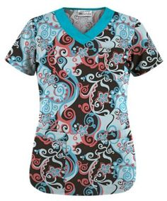 UA Imperial Garden Espresso Print Scrub Top Style # UA303MES #uniformadvantage #uascrubs #adayinscrubs #scrubs #printscrubs