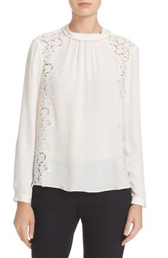 3bad5cab964c Rebecca Taylor Lace Trim Georgette Blouse available at #Nordstrom Lace  Insert, Mock Neck,