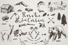 Rustic Cabin Crosshatch Sketches by Lemonade Pixel on Creative Market