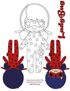 For chat noir and ladybug plushies Felt Crafts Patterns, Doll Patterns, Sewing Patterns, Diy With Kids, Miraculous Ladybug Party, Ladybug Crafts, Diy Couture, Sewing Toys, Soft Dolls