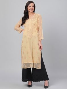 Ada Hand Embroidered Fawn Faux Georgette Lucknowi Chikankari Kurti With Slip- A130702 offers a comfortable and relaxed silhouette to the wearer #AdaChikan #chikankari #chikan #handcrafted #handembroidery #traditional #Ada #lucknowi