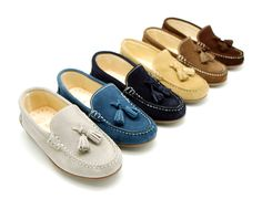 Moccasins : Suede leather moccasin shoes with tassels and driver type Outsole for toddler boys.