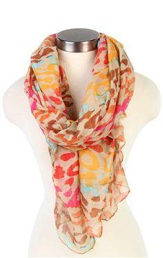 Deb Shops bright multi color #leopard print #scarf