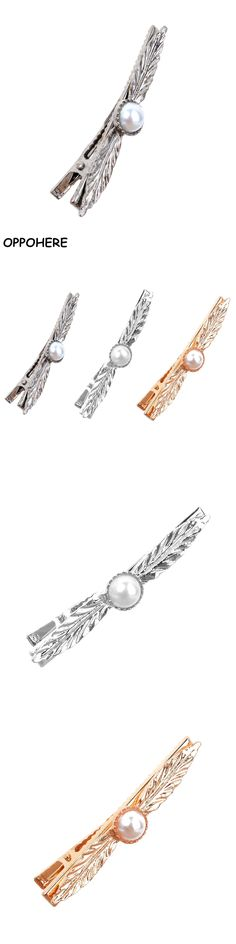 OPPOHERE Girl Metal Pearl Leaf Hair Pin Barrette Clips Side Hairpin Hair Duckbill clips