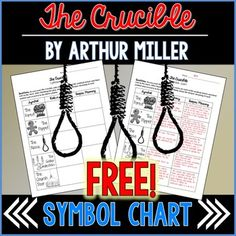 Free chart to help students track five symbols throughout Arthur Miller's The Crucible. This product is included in my Crucible Unit Bundle! 10th Grade English, High School English, Education English, Teaching English, Art Education, Teaching High Schools, Teaching Art, Teaching Resources, Teaching American Literature