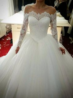 29bfb8ae7e9 Off the Shoulder Lace Ball Gown Wedding Dress with Long Sleeve
