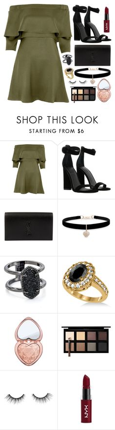 """Seemed to do the trick"" by tigerlily789 ❤ liked on Polyvore featuring River Island, Kendall + Kylie, Yves Saint Laurent, Betsey Johnson, Kendra Scott, Allurez, Too Faced Cosmetics, Down to Earth, tarte and NYX"