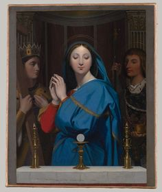 The Virgin Adoring the Host, 1852  Jean-Auguste-Dominique Ingres (French, 1780–1867)  Oil on canvas  While he was serving as director of the French Academy in Rome, Ingres received a commission from the Russian czarevitch, the future Alexander II, to paint a devotional image of the Virgin and the Host with the two patron saints of Russia, Alexander Nevsky and Nicholas. Ingres exhibited the finished picture to critical acclaim in Paris in April 1842 before shipping it to Saint Petersburg.