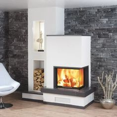 Spartherm Varia Source by mariamichaltsi Home Fireplace, Fireplace Design, Fireplace Ideas, Home Fashion, Home Living Room, Interior Design Living Room, My Dream Home, Sweet Home, New Homes