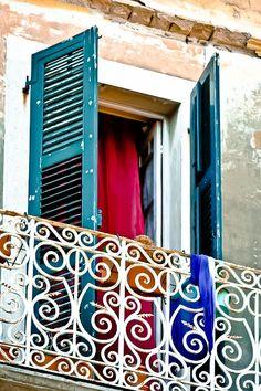Corfu , Venetian style window in Corfu town Samos, Villas In Corfu, Corfu Island, Corfu Greece, Exotic Beaches, Through The Window, Greek Islands, Greece Travel, Beautiful Islands